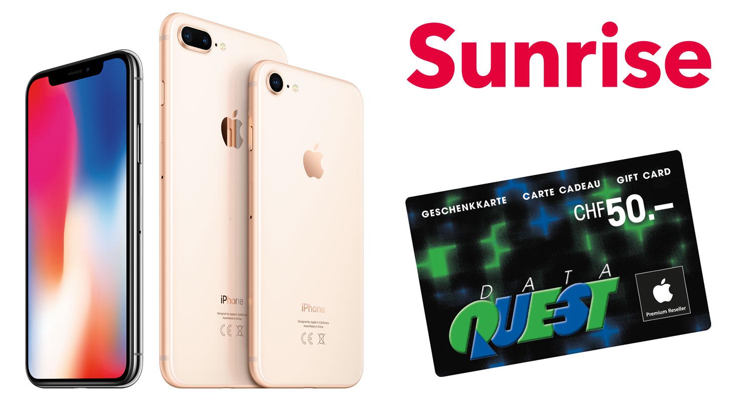 iPhone mit Sunrise Abo und Geschenkkarte